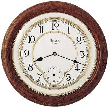 Bulova William Empat Round Oak Wall Clock  Lamps Plus