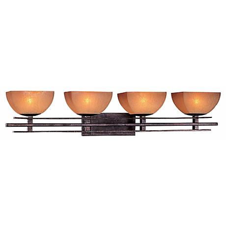"""Lineage Collection 38 1/8"""" Wide Iron Bathroom Light Fixture"""