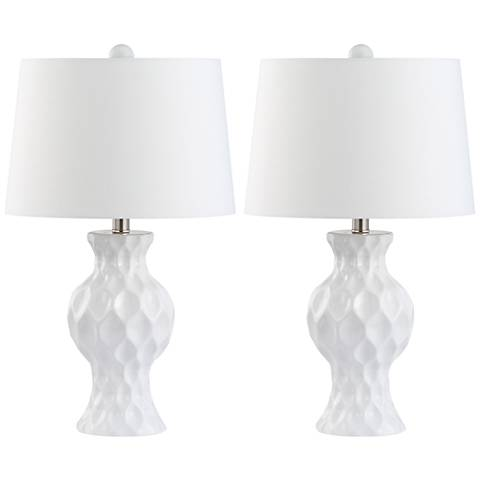 Indented White Ceramic Accent Table Lamp Set of 2