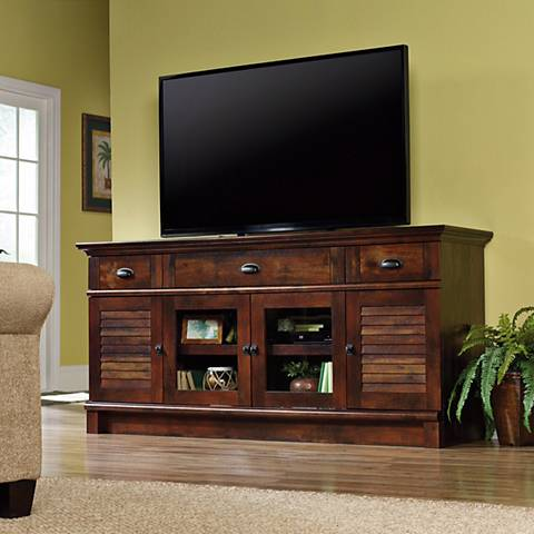 Sauder Harbor View Curado Cherry 3-Drawer Credenza