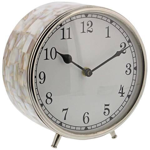 Natural Seashell Inlay Round Table Clock