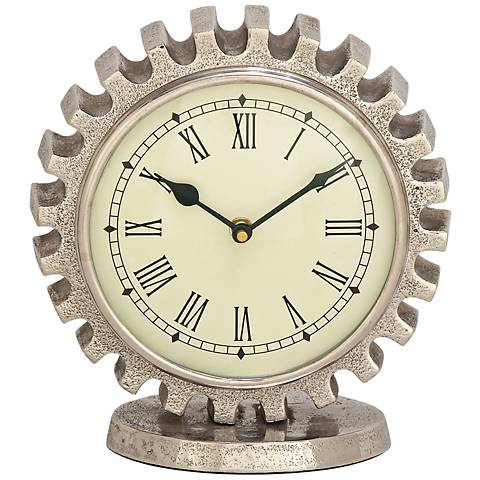 "Low Gear Silver Stone Texture Aluminum 8"" High Table Clock"