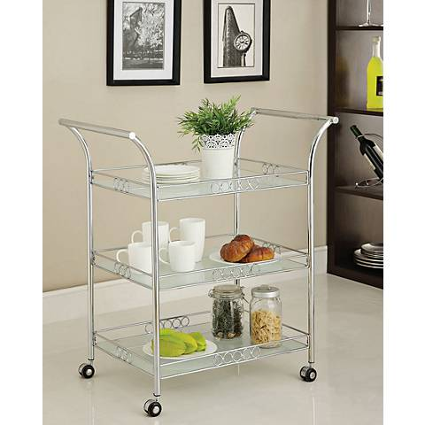 Clancy Chrome and White Frosted Glass Serving Cart
