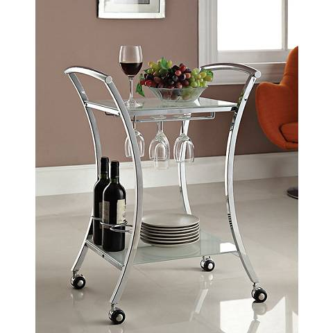 Anker Chrome and White Frosted Glass Serving Cart