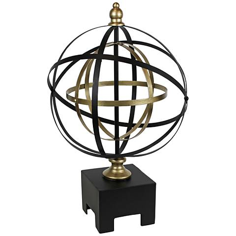 "Armillary 20"" High Black and Gold Table Sculpture"