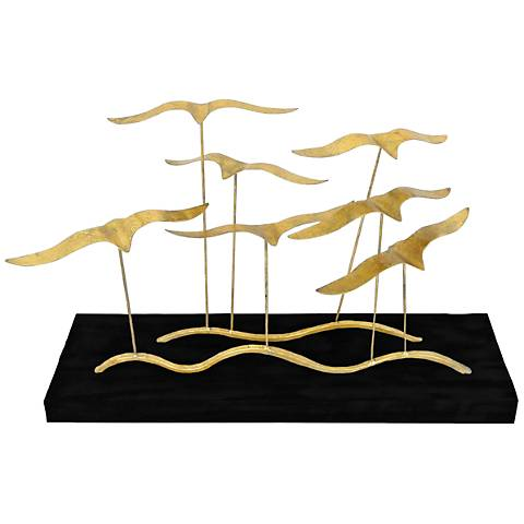 """Flock of Birds Gold and Black 24"""" Wide Table Sculpture"""