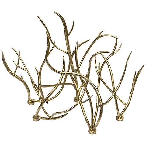 "Branch 25"" Wide Gold Metal Table Sculpture"