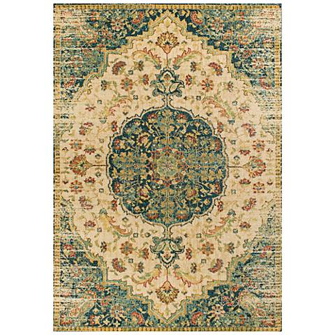 Casablanca 4408 Sand and Teal Condesa Area Rug