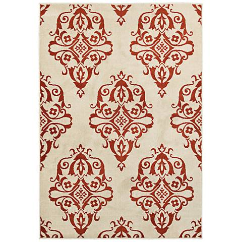 Jayden 7412D Ivory and Rust Area Rug