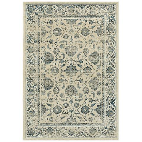 Linden 7909A Distressed Ivory and Blue Area Rug