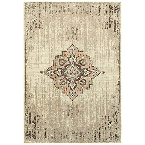 Pasha 072J2 Ivory and Brown Area Rug
