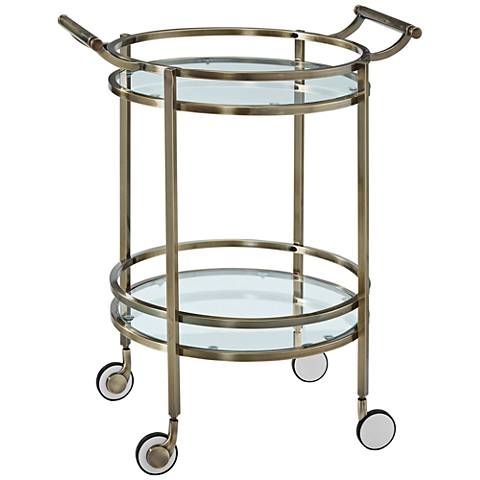 Antique Brass Rolling Round 2-Shelf Serving Cart