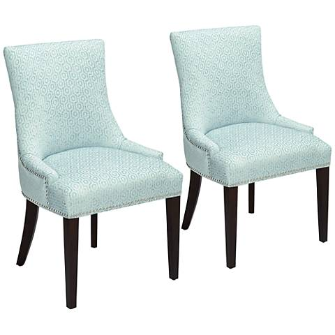 Mckenzie Blue Geometric Chenille Chairs Set of 2