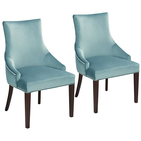 Sonya Blue Button Tufted Back Chairs Set of 2