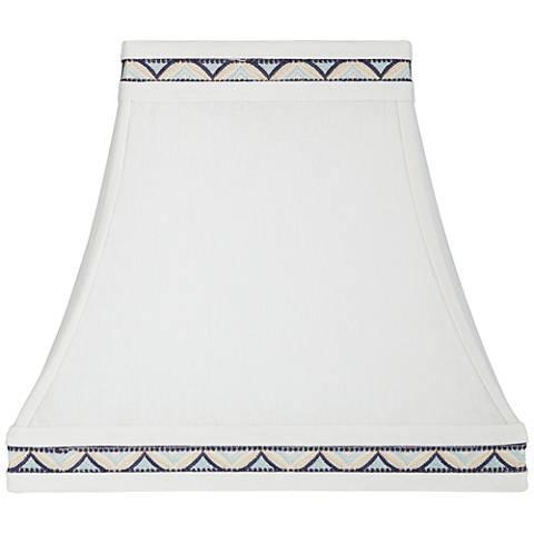 White w/ Blue Rectangular Lamp Shade 5/8X10/14X13 (Spider)