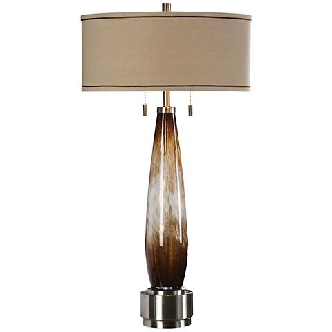 Uttermost Garonne Bronze and Ivory Glass Table Lamp