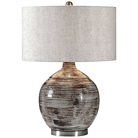 Uttermost Tamula Distressed Blue-Gray Ceramic Table Lamp