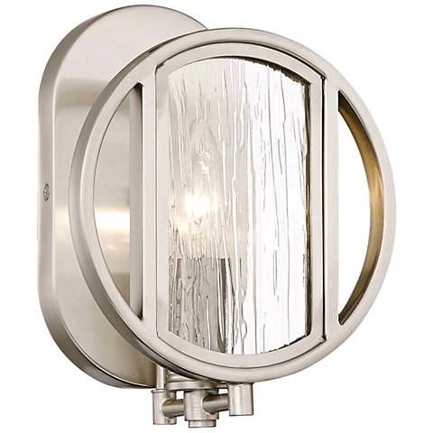 "Via Capri 8 3/4"" High Brushed Nickel Wall Sconce"