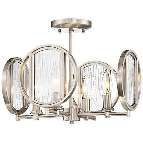 "Via Capri 15"" Wide Brushed Nickel 4-Light Ceiling Light"