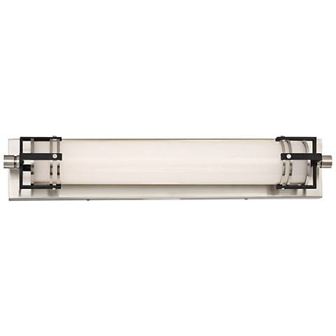 "Lowry 24""W Brushed Nickel and Sand Black LED Bath Light"