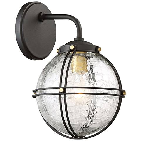 """Rond 8 3/4"""" High Black and Honey Gold Outdoor Wall Light"""