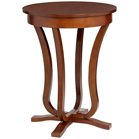 """Walnut Finish 26"""" Wide Round Pedestal Table"""