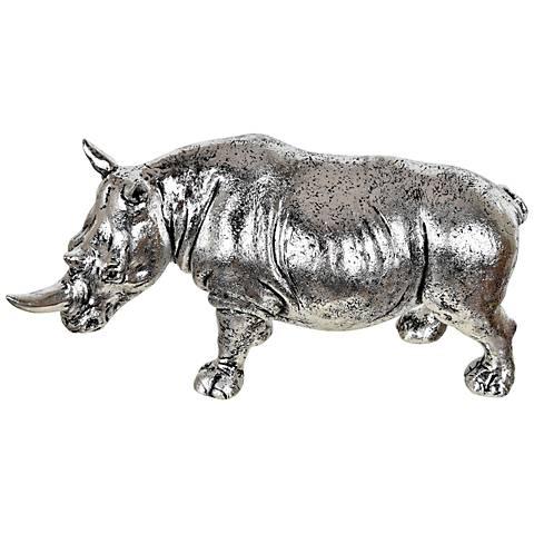 "Crestview Collection Rhino 13 1/2"" High Silver Figurine"
