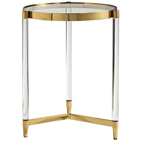 Uttermost Kellen Clear Glass and Gold Round Accent Table