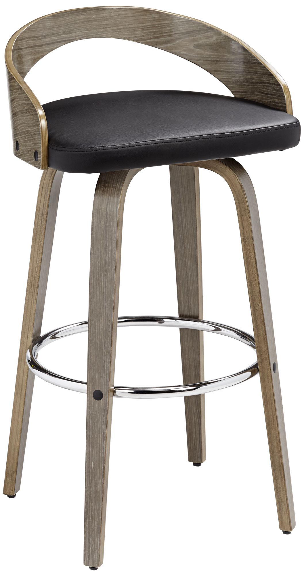 Gratto 29 1/4  Black Faux Leather Gray Wood Swivel Bar Stool  sc 1 st  L&s Plus & Footrest Barstools Seating | Lamps Plus islam-shia.org