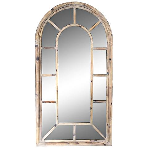 "Bounty Natural Wood 32"" x 59 3/4"" Arched Floor Mirror"