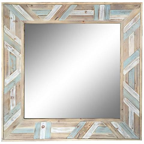 "Tracey Blue, White and Natural 36 1/4"" Square Wall Mirror"