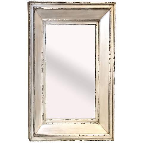 """Farm House III Antiqued White 35 1/4"""" x 47 1/4"""" Wall Mirror"""