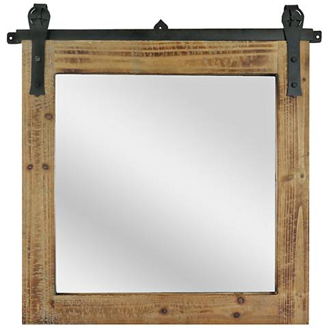 "Barn House Natural 31"" Square Wall Mirror"