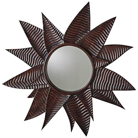 """Succulent Walnut 43 1/2"""" Oversize Round Wall Mirror"""