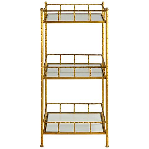 Tilly Gold Leaf and Clear Glass 3-Tier Accent Shelf