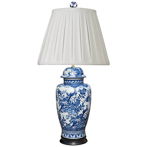 Yulin Blue and White Porcelain Urn Table Lamp