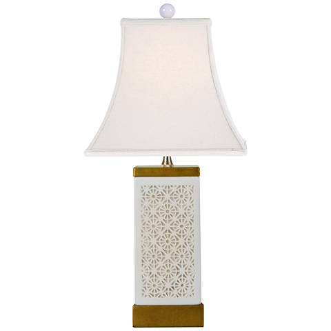 Pierced Bone China Porcelain Accent Table Lamp
