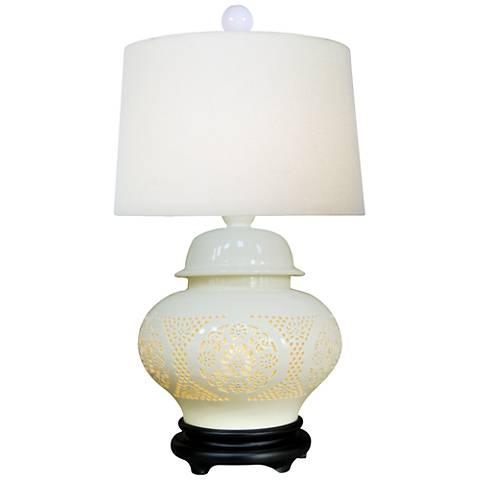 Pierced Bone China Porcelain Ginger Jar Table Lamp