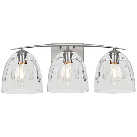 "Besa Phantom 25""W Satin Nickel and Clear 3-Light Bath Light"