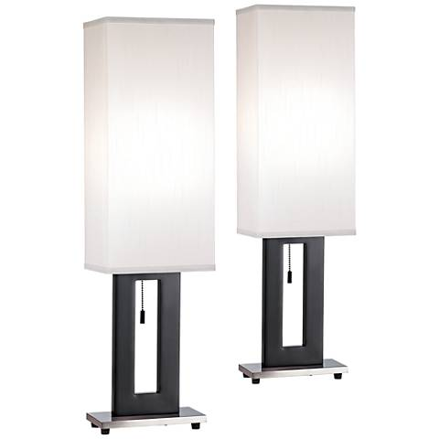 Floating Brushed Nickel Rectangle Table Lamp Set of 2