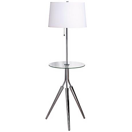 Kenroy Rosie Chrome Finish Glass Tray Table Floor Lamp