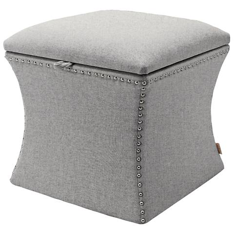 Jennifer Taylor Holly Light Gray Fabric Storage Ottoman