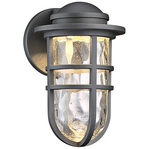 "dweLED Steampunk 9 1/2"" High Graphite LED Outdoor Wall Light"