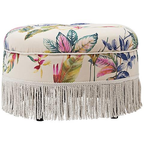 Yolanda Beige and Purple Floral Fabric Round Ottoman
