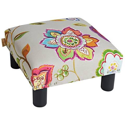Jules Multi-Color Floral Fabric Square Accent Ottoman