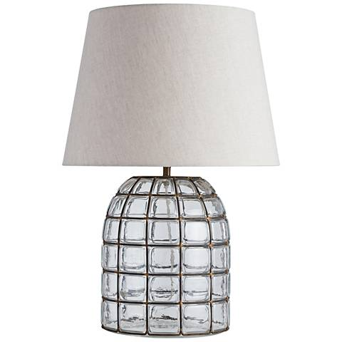 Georgette Clear Glass and Antique Brass Table Lamp