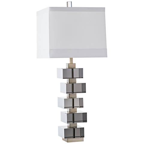 Genzer Smoke Crystal and Pale Brass Table Lamp