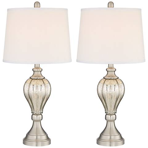 Abby Brushed Steel and Mercury Glass Table Lamp Set of 2