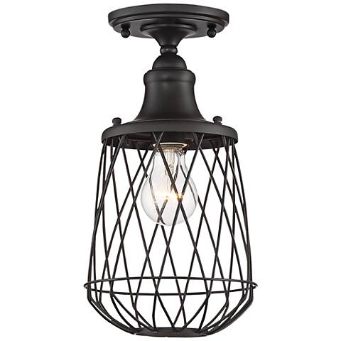 "Jayson 7"" Wide Bronze Caged Ceiling Light"