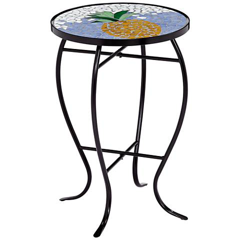 Blue and White Pineapple Mosaic Round Outdoor Accent Table